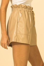 HYFVE Faux Leather Paperbag Waist Shorts - Front full body