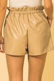 HYFVE Faux Leather Paperbag Waist Shorts - Back cropped