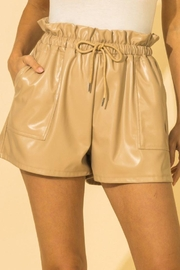 HYFVE Faux Leather Paperbag Waist Shorts - Front cropped