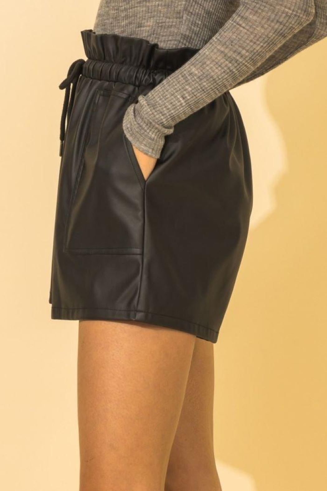 HYFVE Faux Leather Paperbag Waist Shorts - Front Full Image