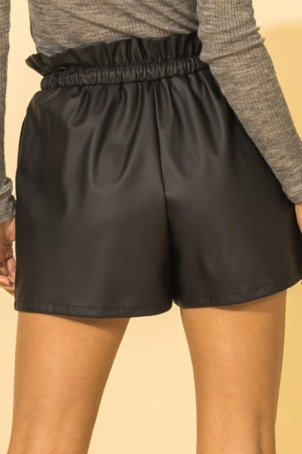 HYFVE Faux Leather Paperbag Waist Shorts - Side Cropped Image