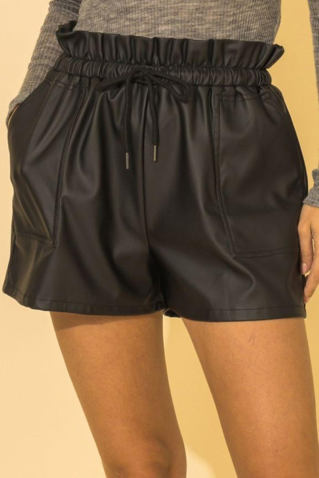 HYFVE Faux Leather Paperbag Waist Shorts - Front Cropped Image