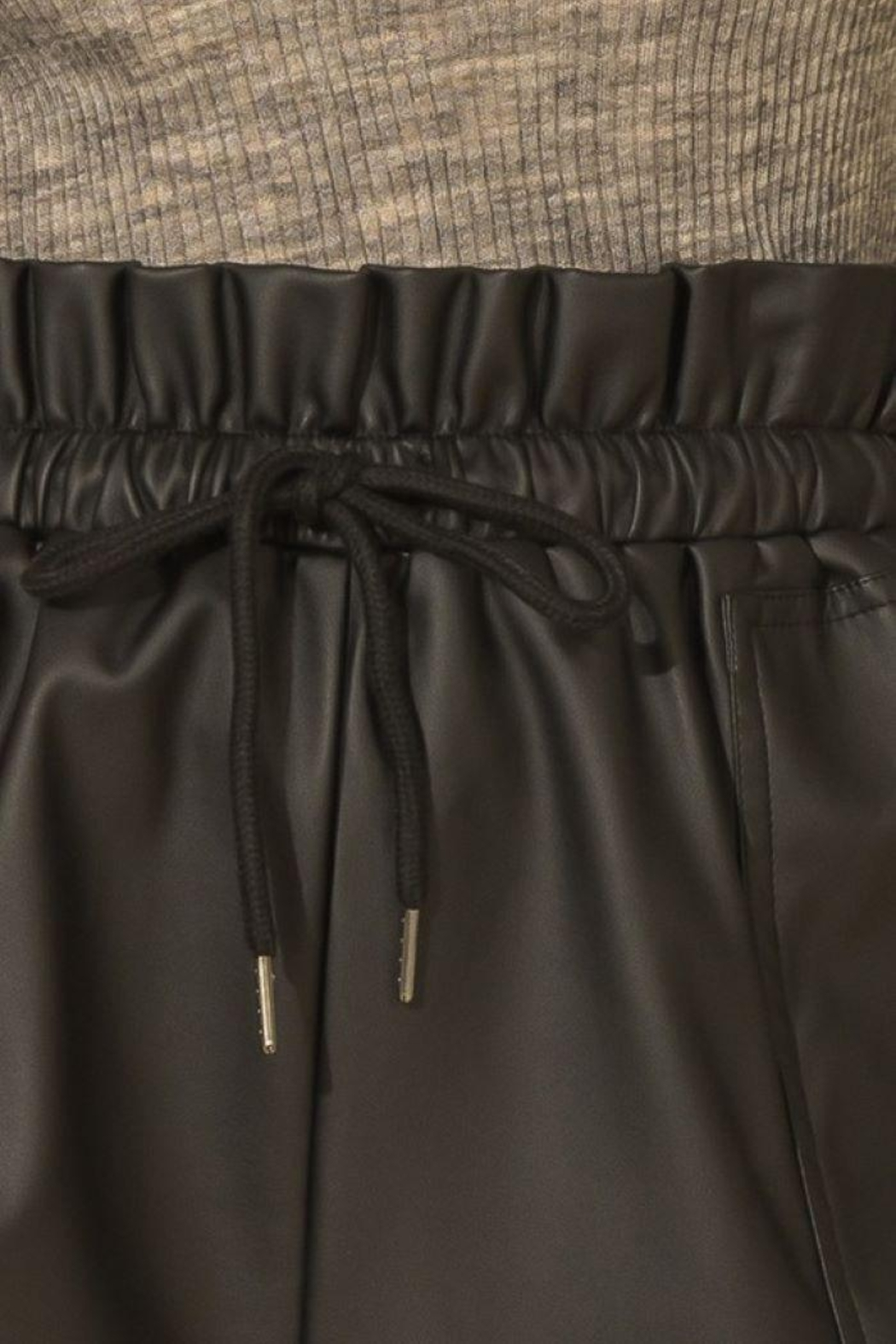 HYFVE Faux Leather Paperbag Waist Shorts - Back Cropped Image