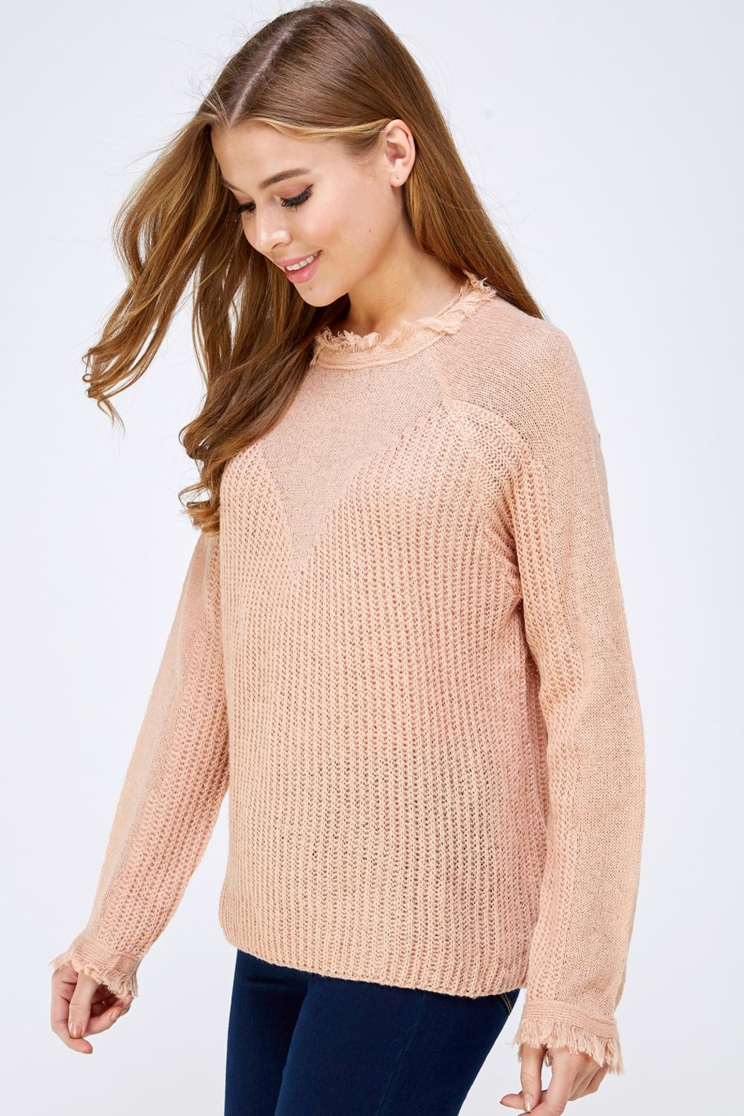 HYFVE Fray Collar Sweater - Side Cropped Image