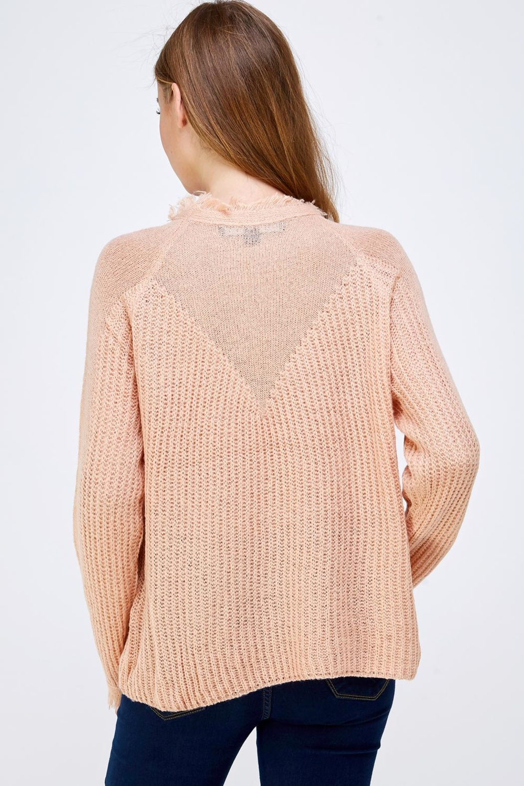 HYFVE Fray Collar Sweater - Back Cropped Image