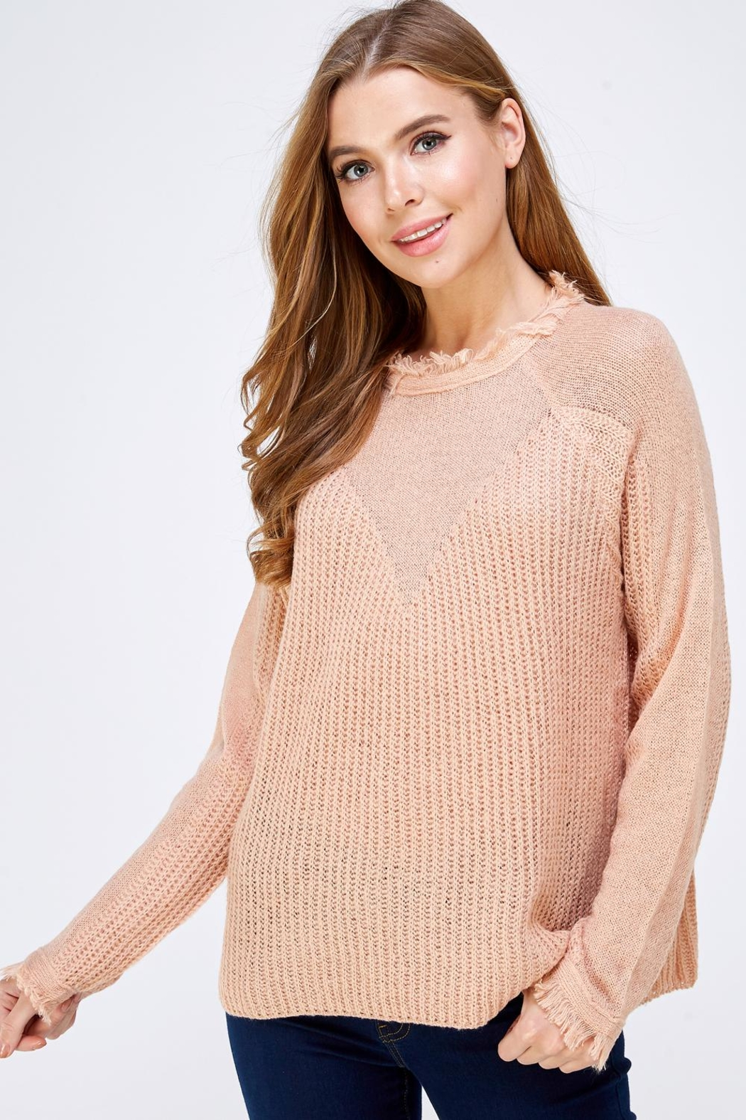 HYFVE Fray Collar Sweater - Front Cropped Image