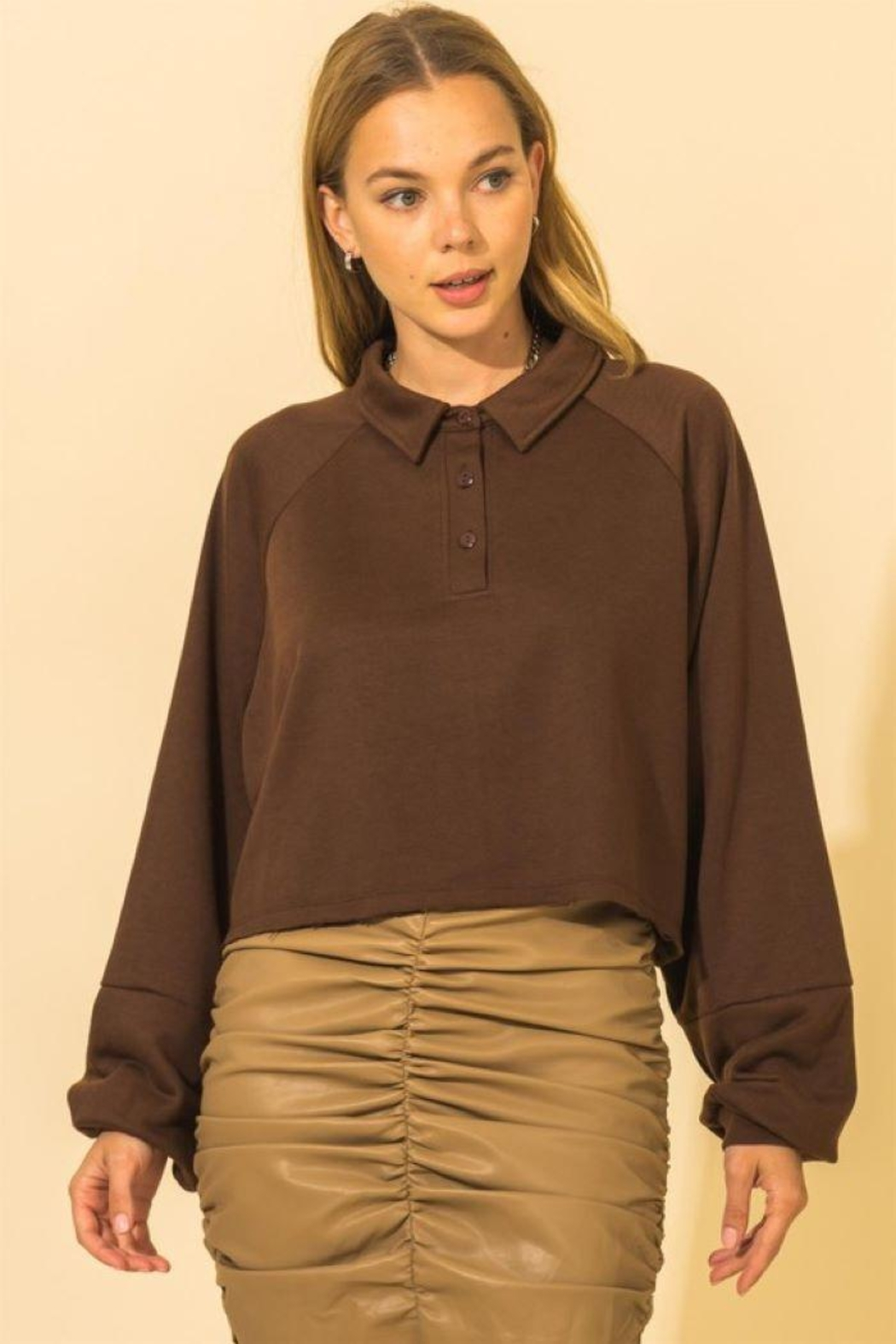 HYFVE French Terry Crop Top - Front Cropped Image
