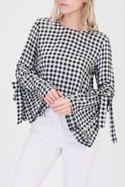 HYFVE Gingham Trumpet-Sleeve Top - Front cropped