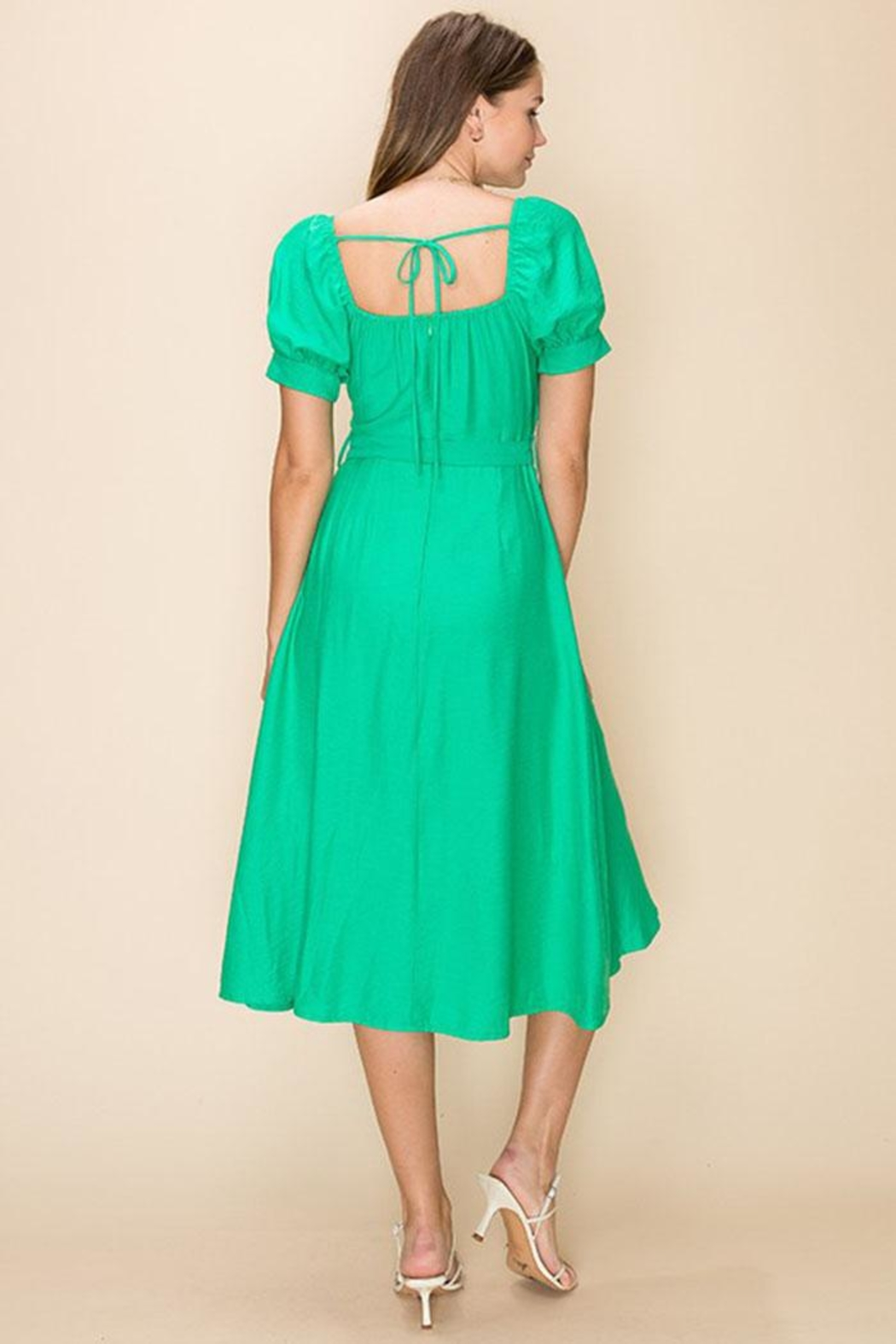 HYFVE Green Wrapped Midi-Dress - Side Cropped Image