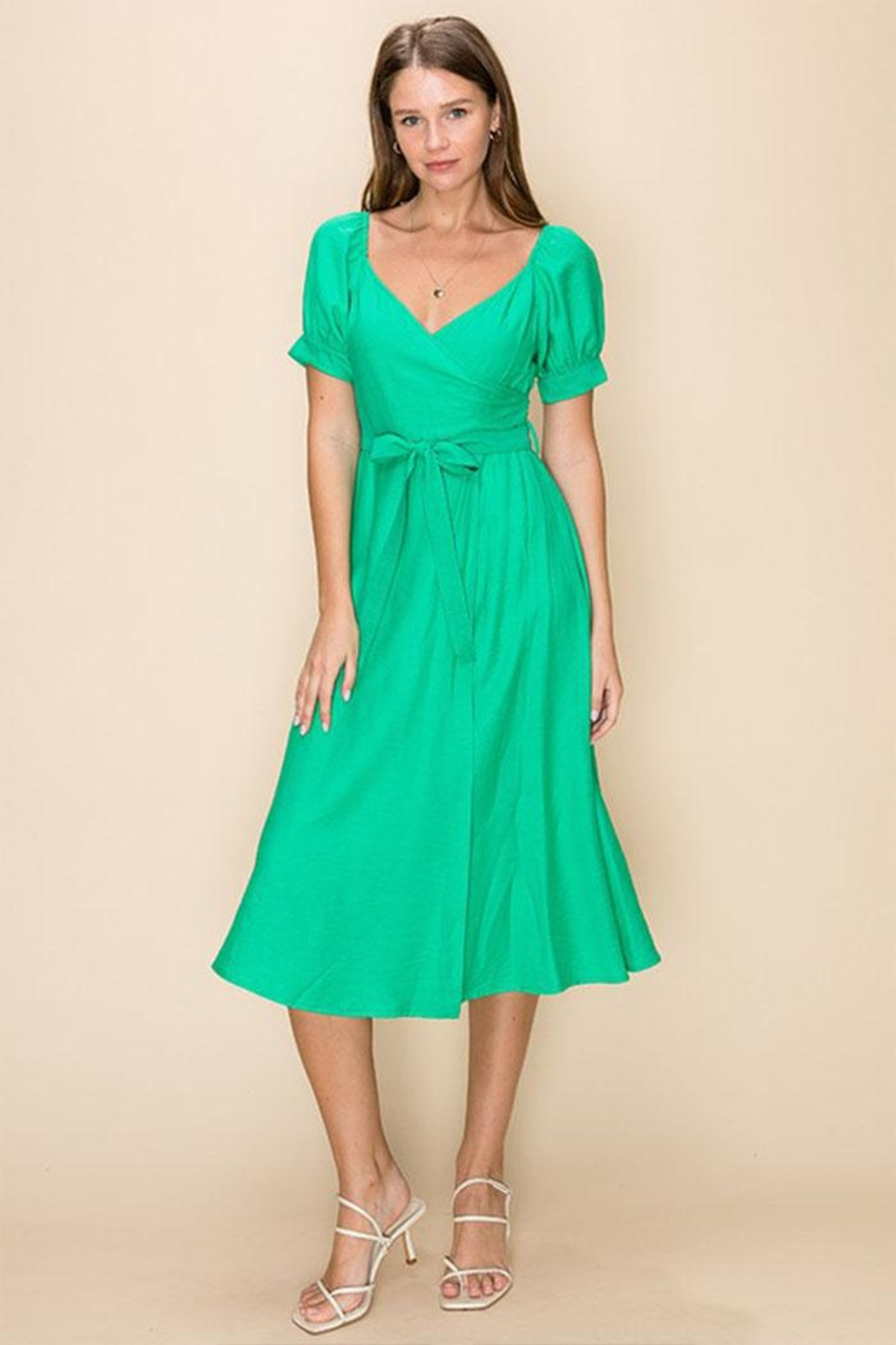 HYFVE Green Wrapped Midi-Dress - Main Image