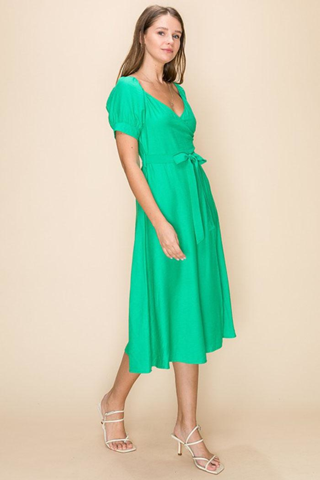 HYFVE Green Wrapped Midi-Dress - Front Full Image