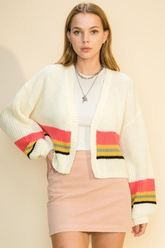 HYFVE Knitted Multi Stripe Cropped Cardigan - Product List Image