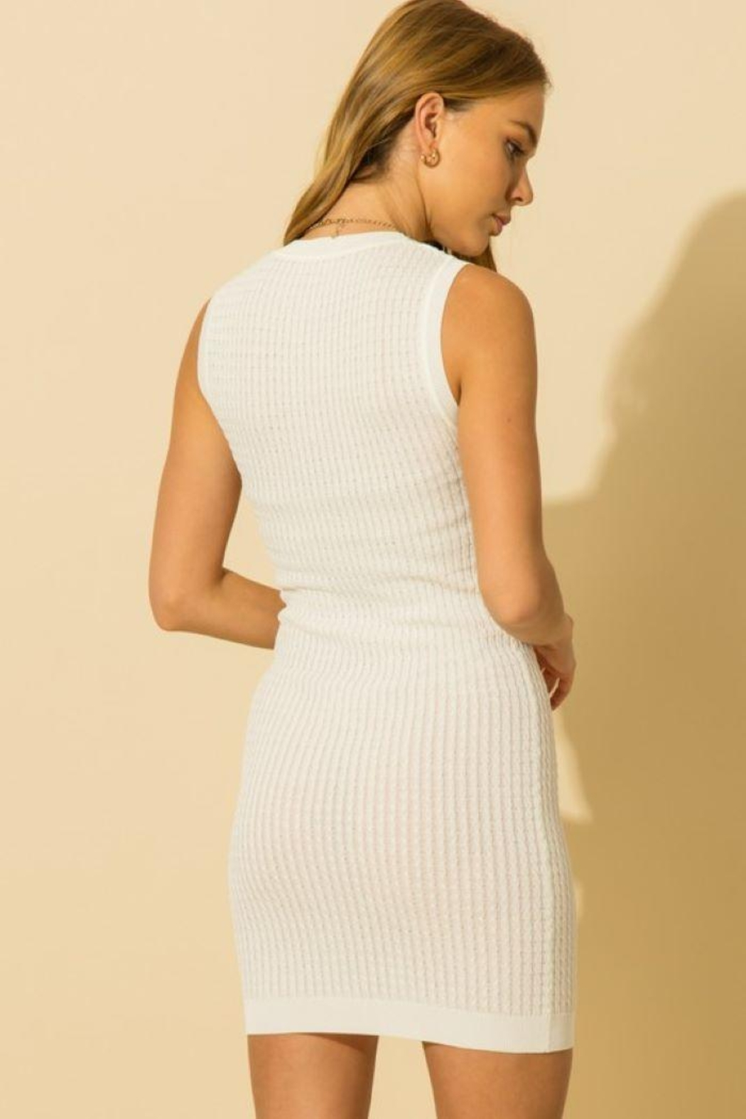 HYFVE Knitted Sleeveless Mini Dress - Back Cropped Image