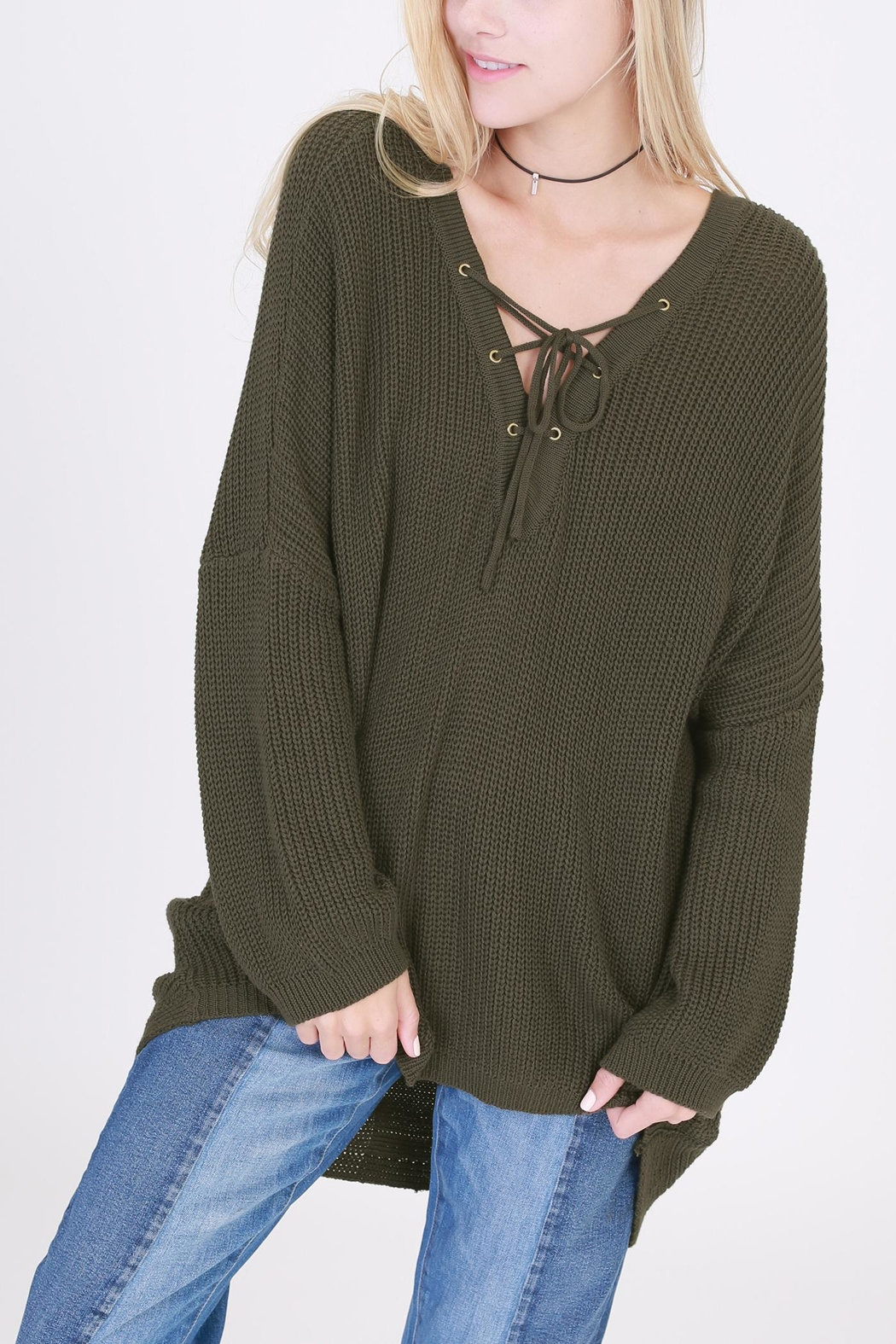 HYFVE Lace Up Sweater - Front Cropped Image