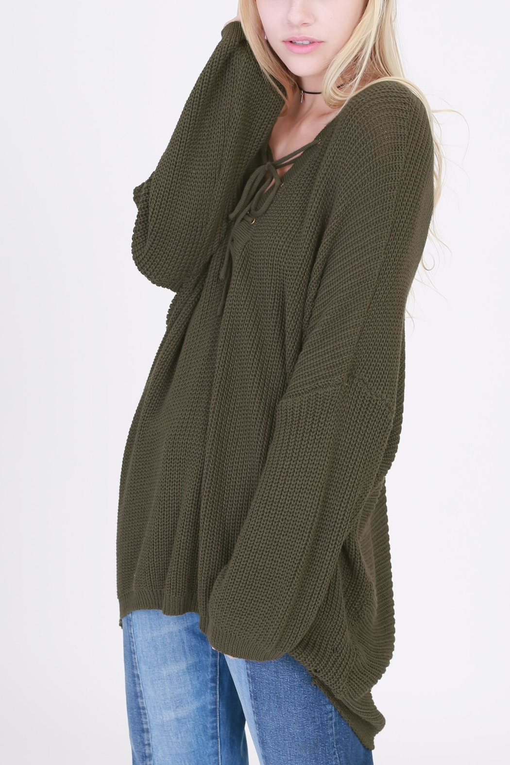 HYFVE Lace Up Sweater - Side Cropped Image