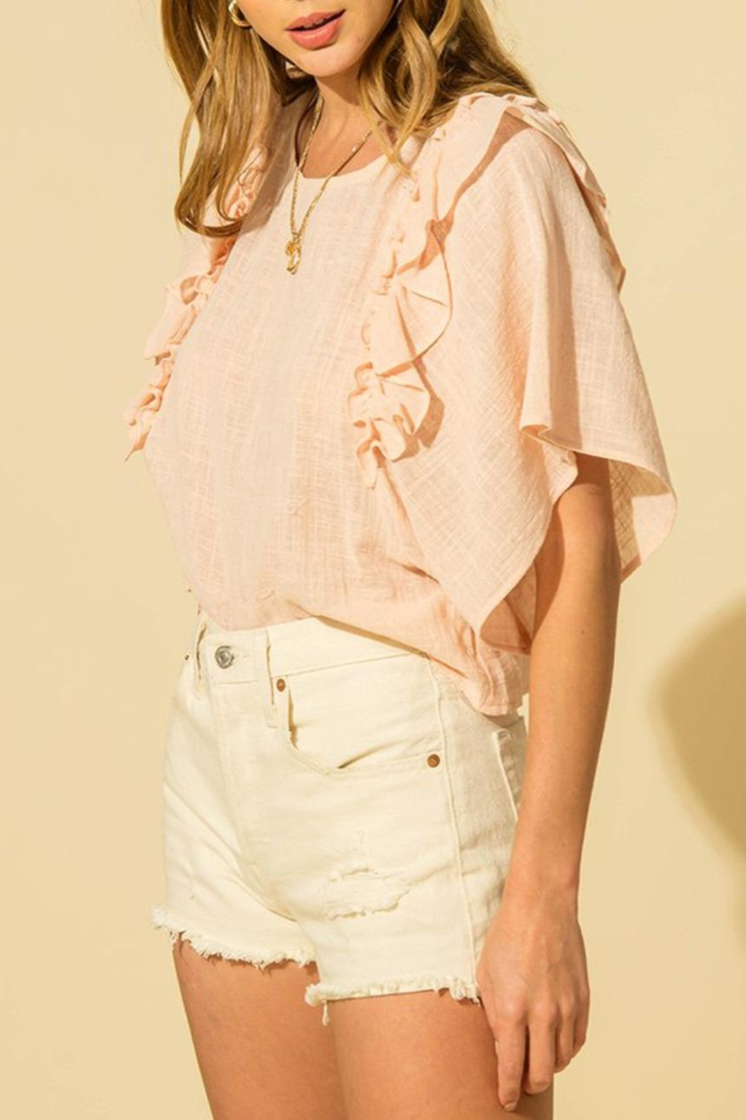 HYFVE Linen Ruffle Top - Side Cropped Image