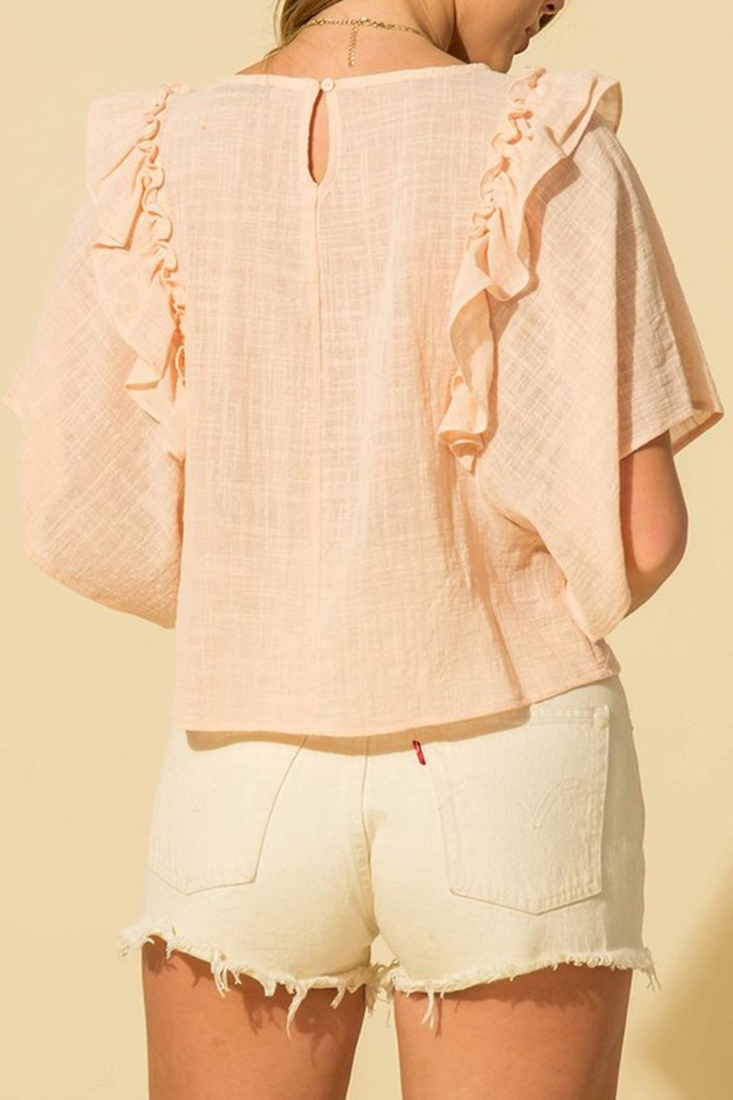 HYFVE Linen Ruffle Top - Back Cropped Image