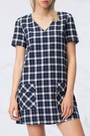 HYFVE Navy Plaid Dress - Product Mini Image