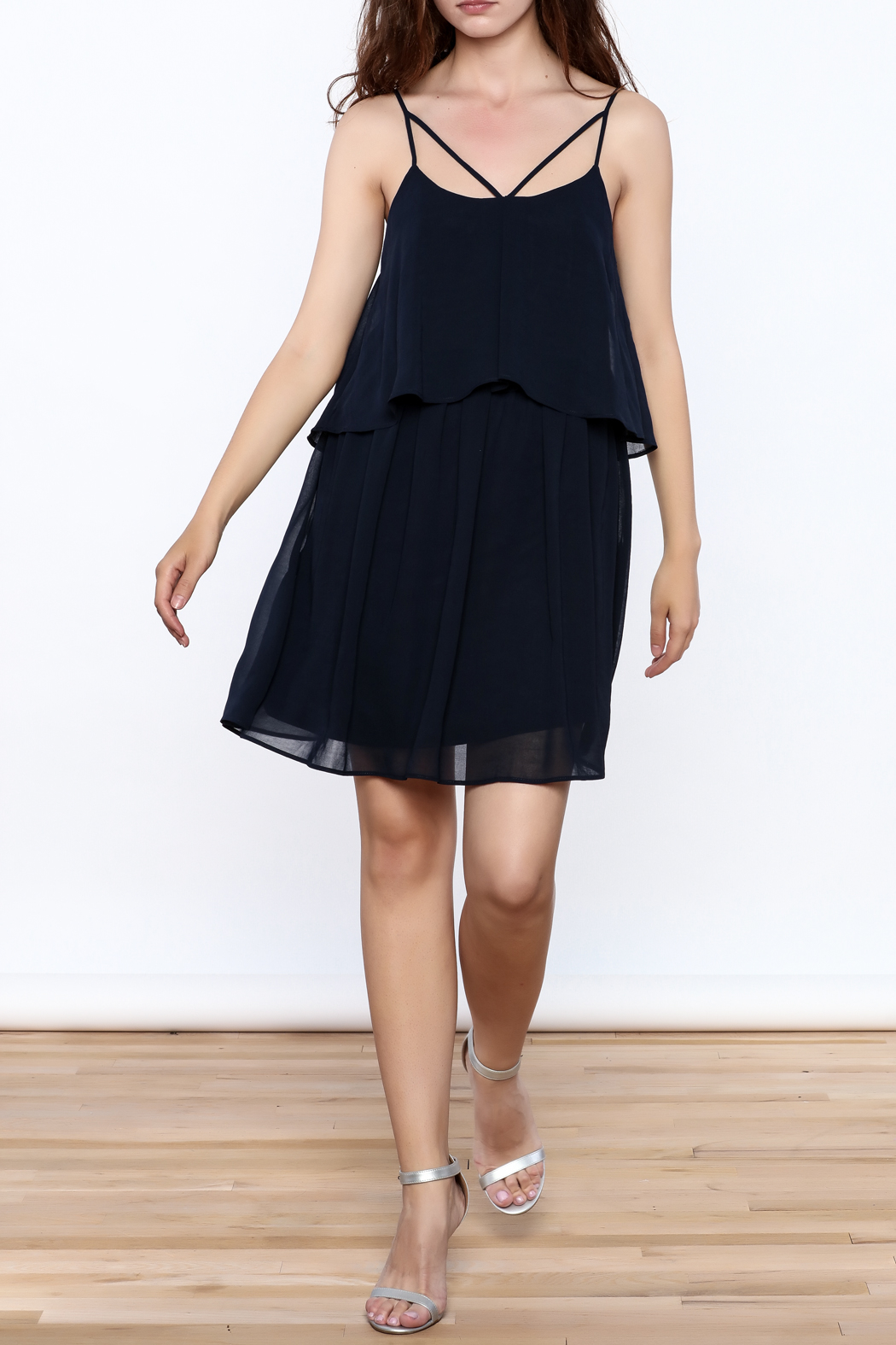 HYFVE Navy Flowy Dress - Front Full Image