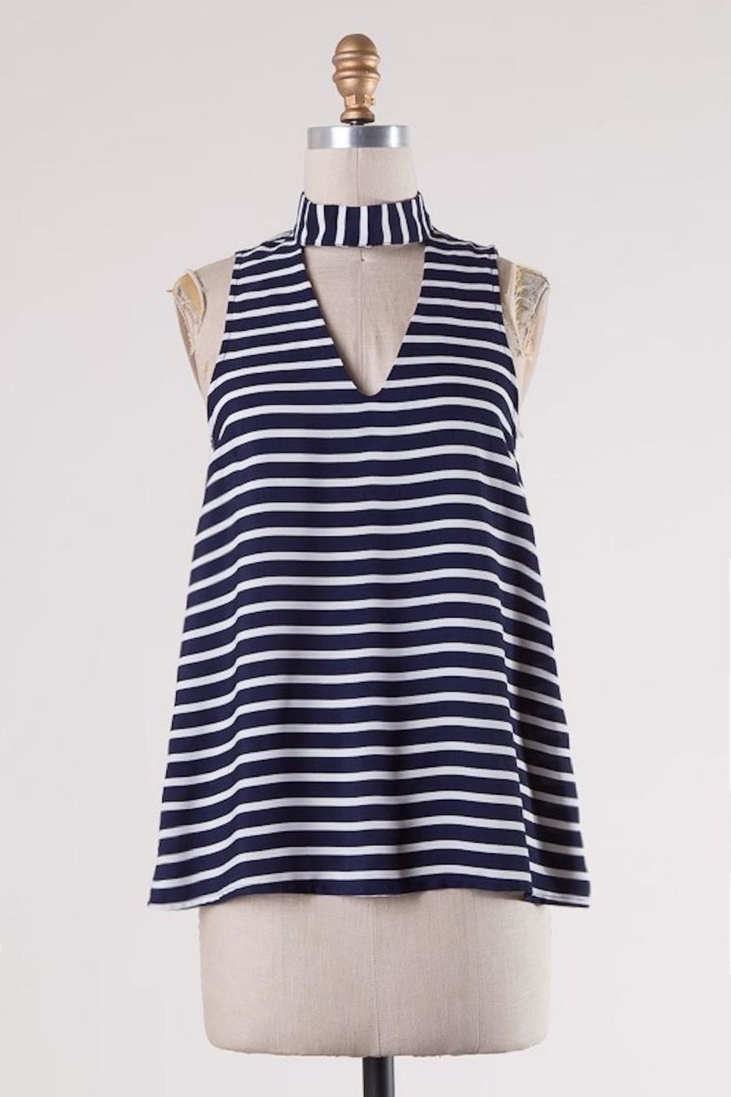 HYFVE Navy/white Stripes Choker - Front Cropped Image