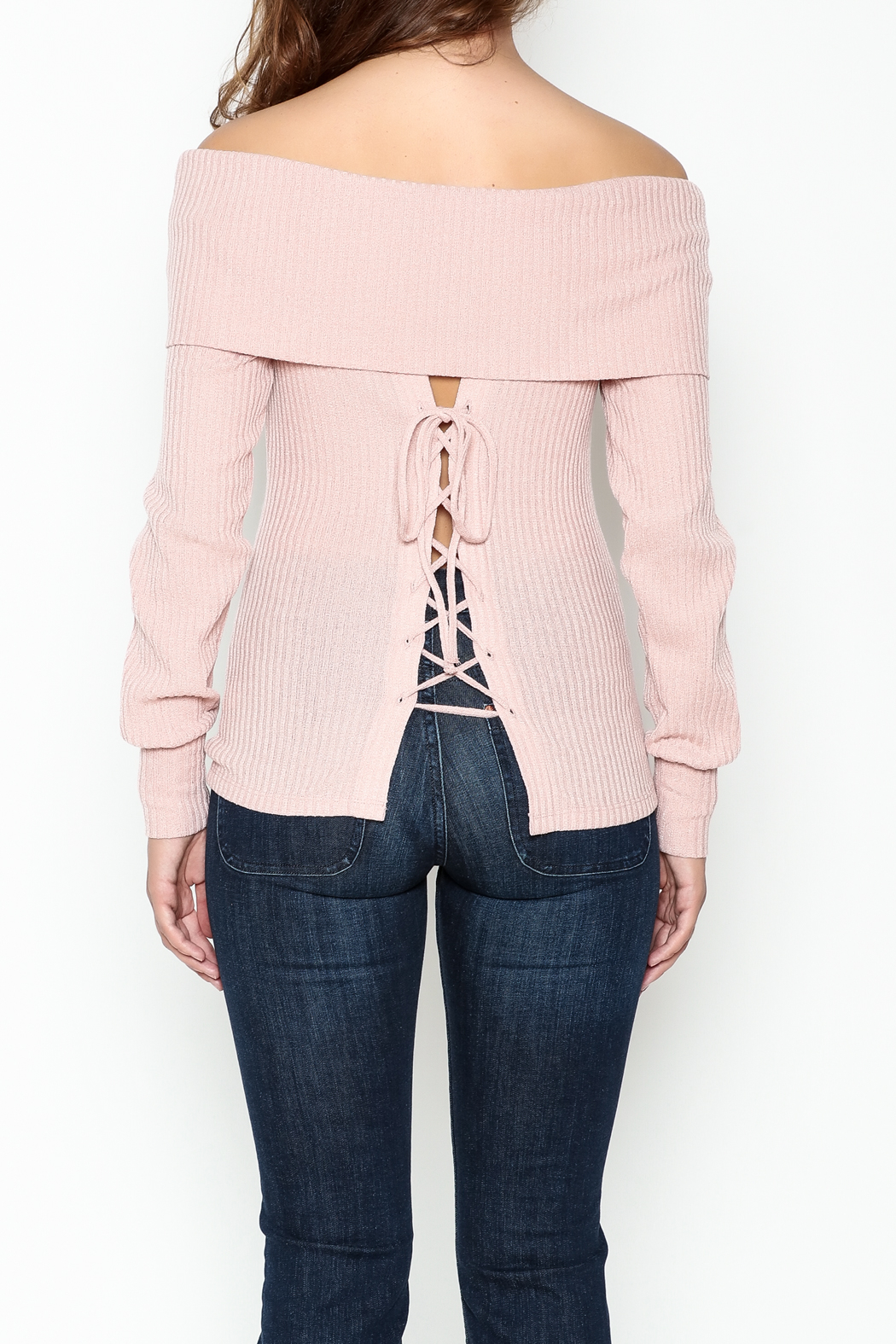 HYFVE Lace Up Back Sweater - Back Cropped Image