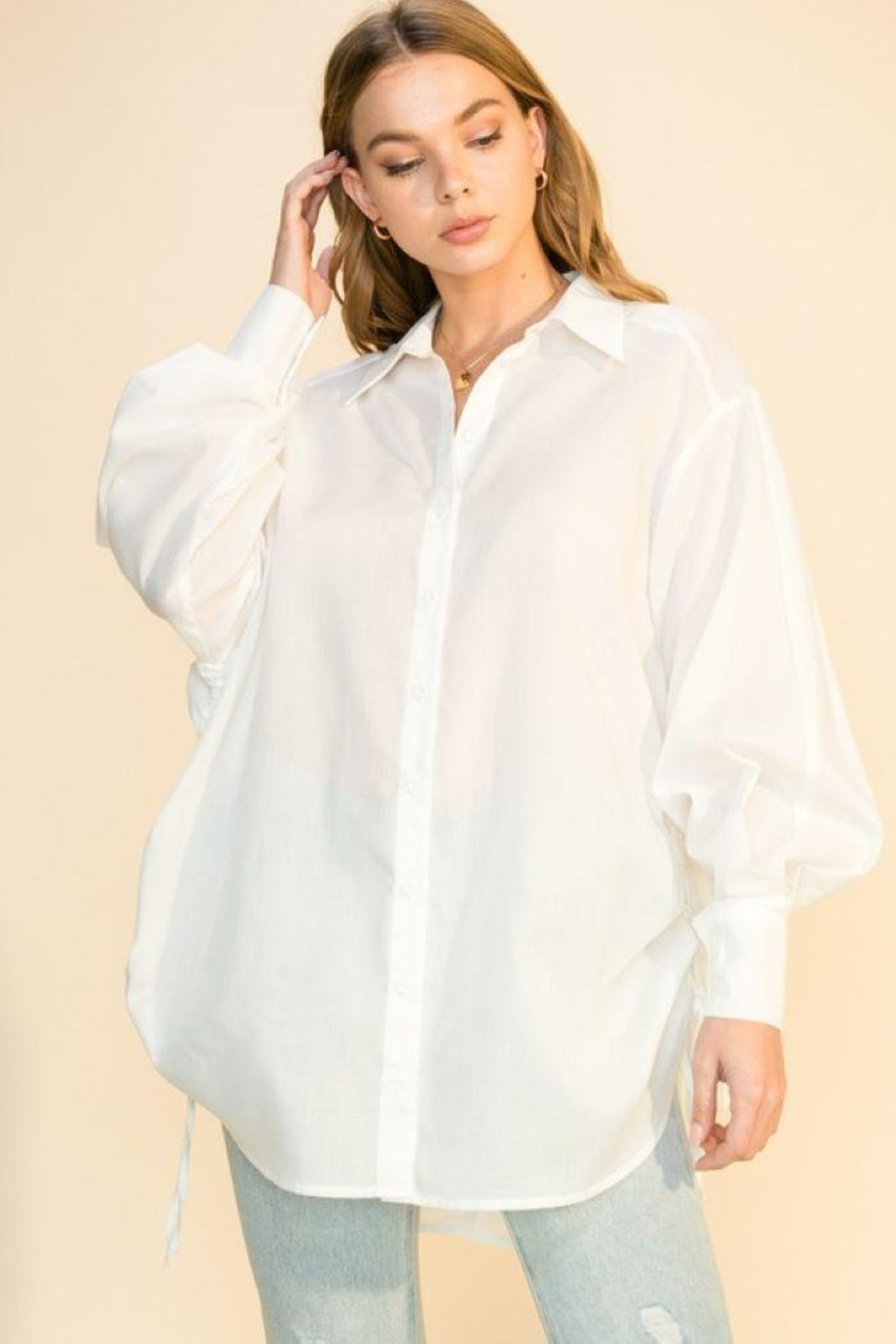HYFVE Oversized Button Shirt - Front Cropped Image