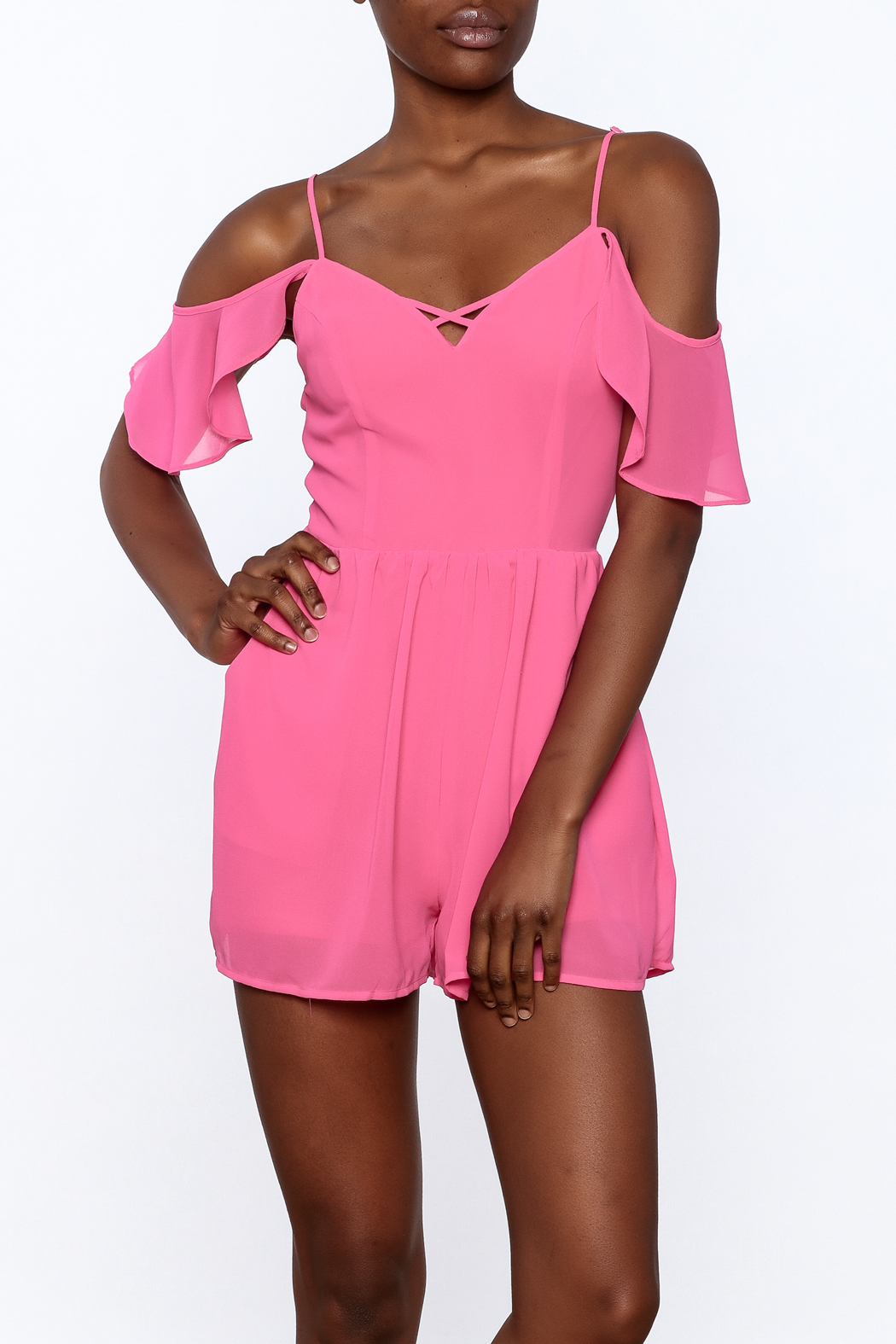 HYFVE Pink Ruffle Romper - Front Cropped Image