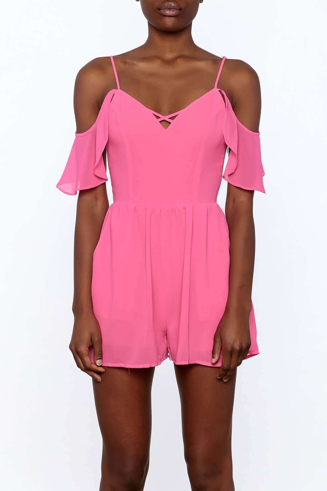HYFVE Pink Ruffle Romper - Side Cropped Image