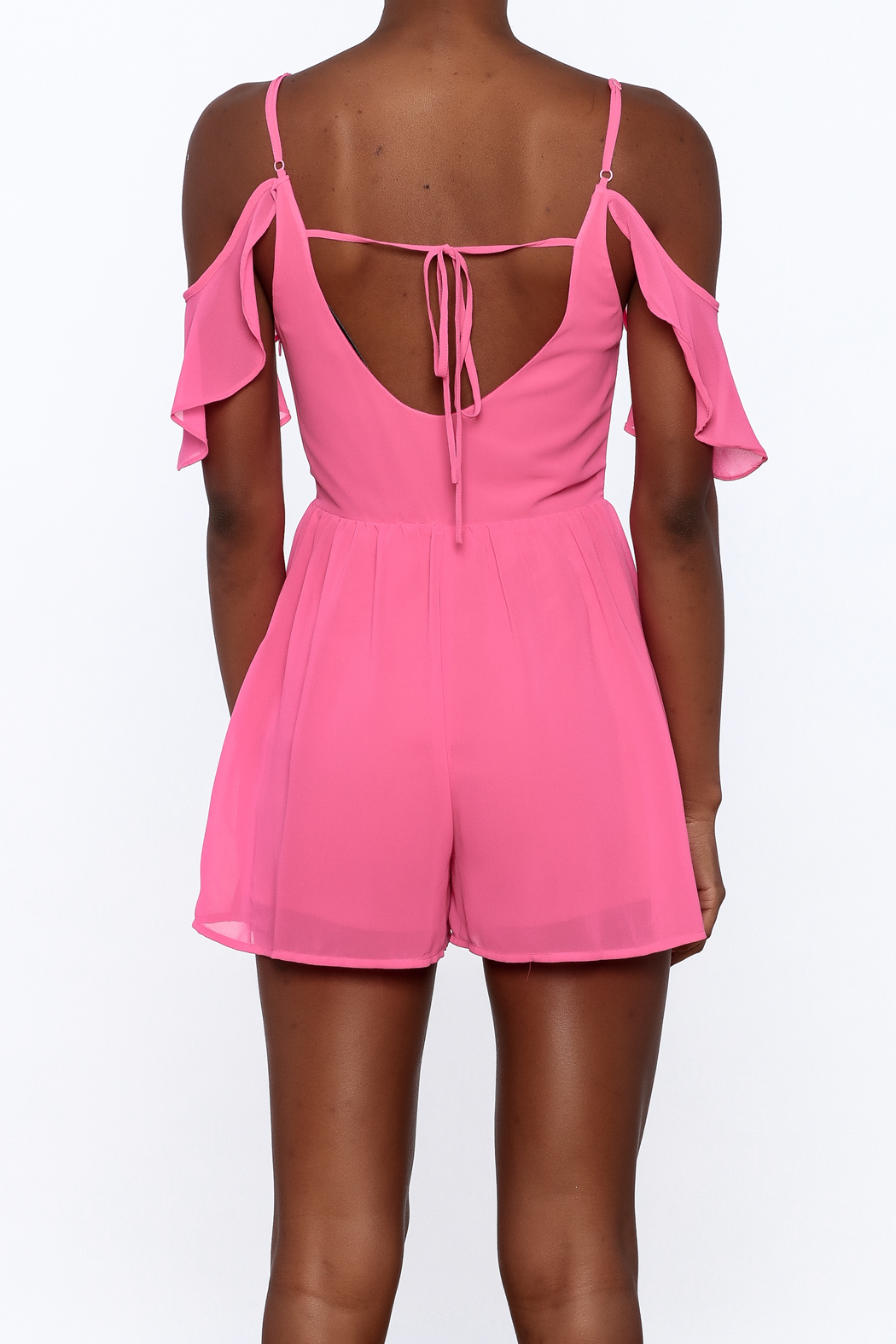 HYFVE Pink Ruffle Romper - Back Cropped Image