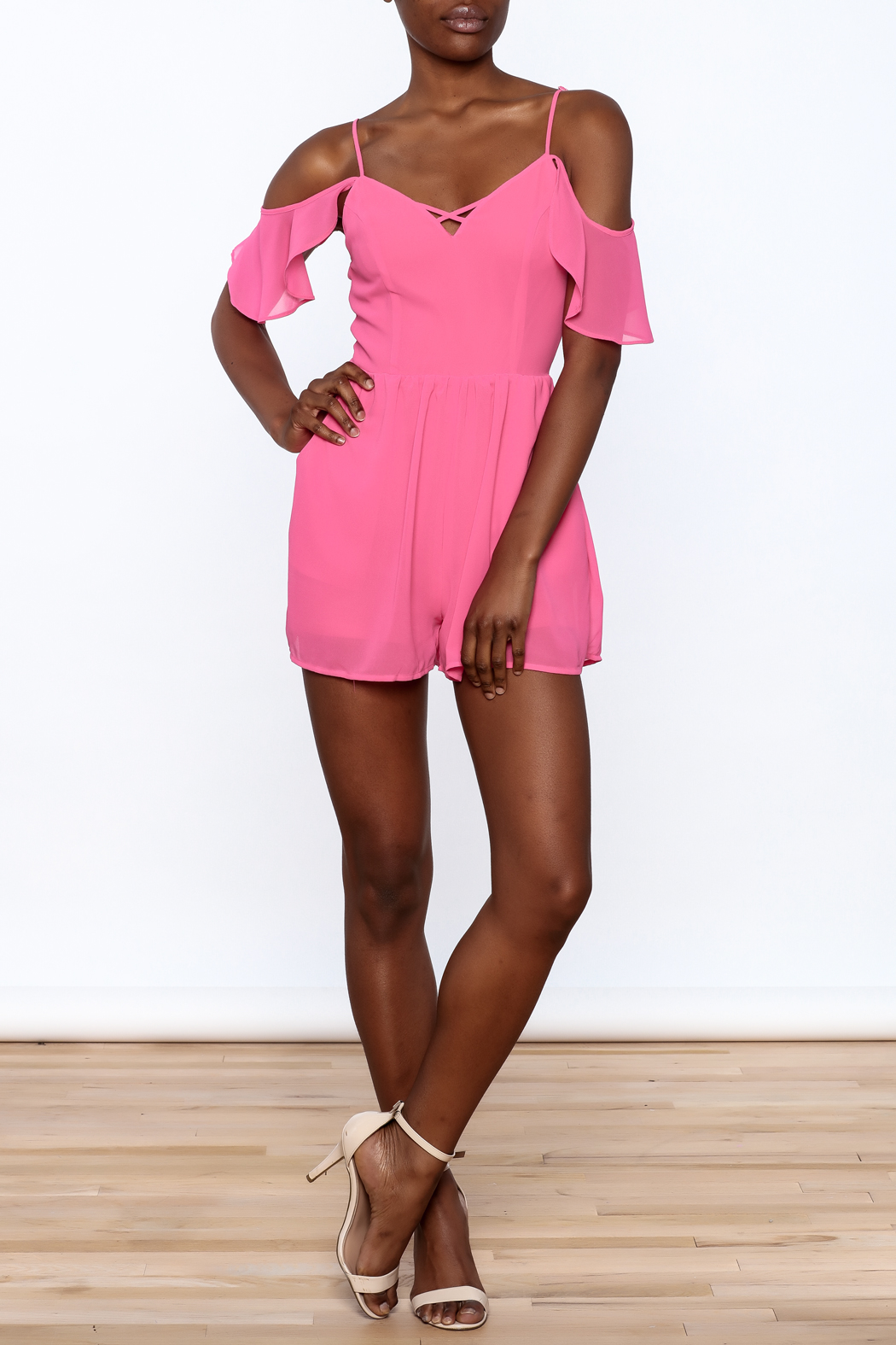 HYFVE Pink Ruffle Romper - Front Full Image
