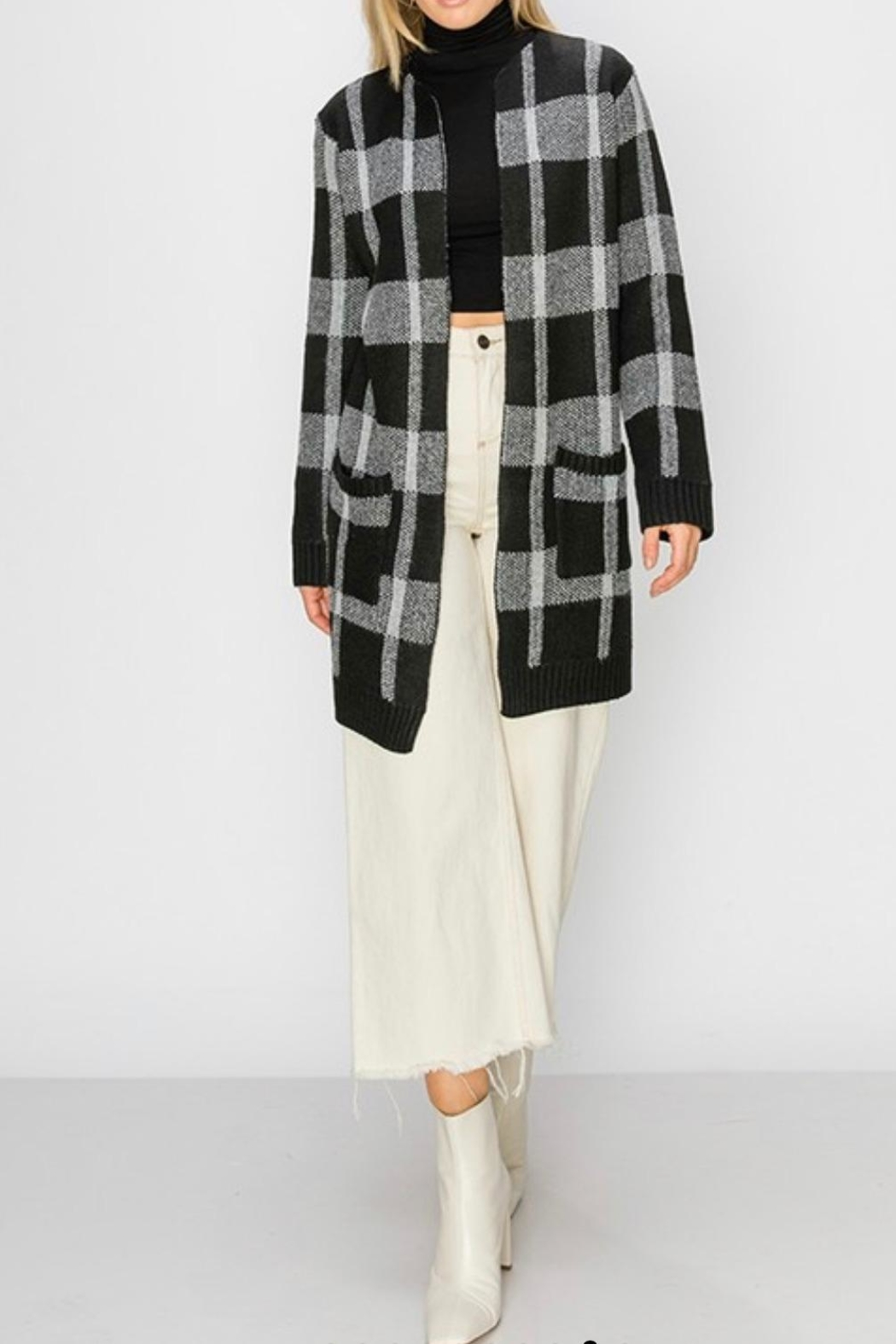 HYFVE Plaid Maxi Open-Sweater - Back Cropped Image