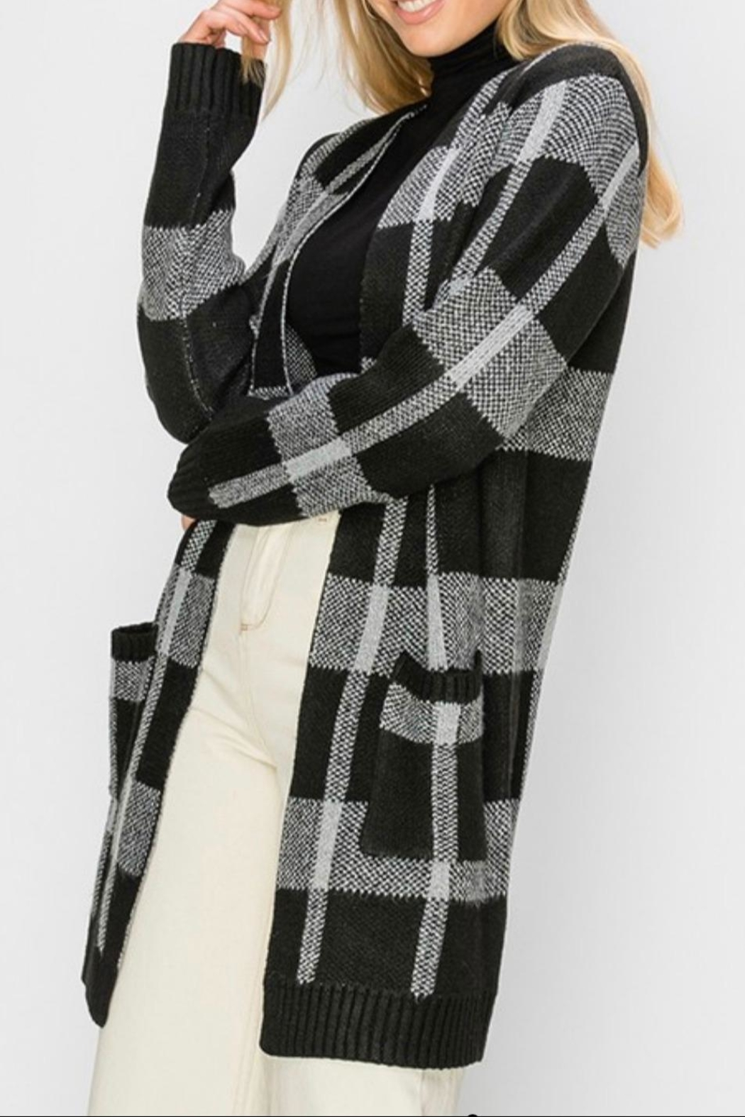 HYFVE Plaid Maxi Open-Sweater - Front Full Image