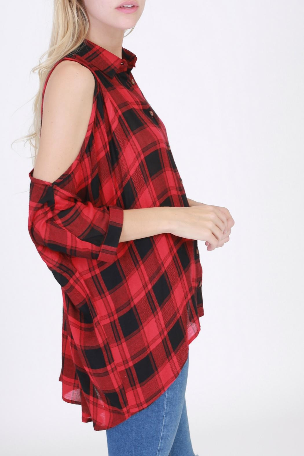 HYFVE Red Flannel Shirt - Side Cropped Image