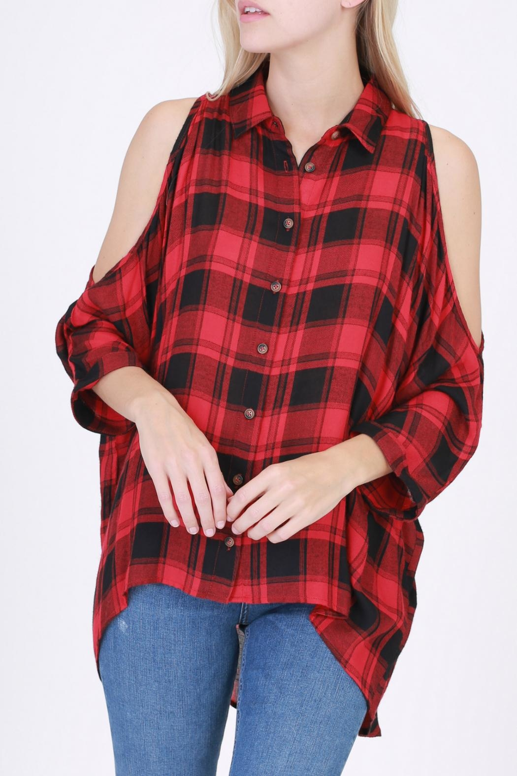 HYFVE Red Flannel Shirt - Front Cropped Image