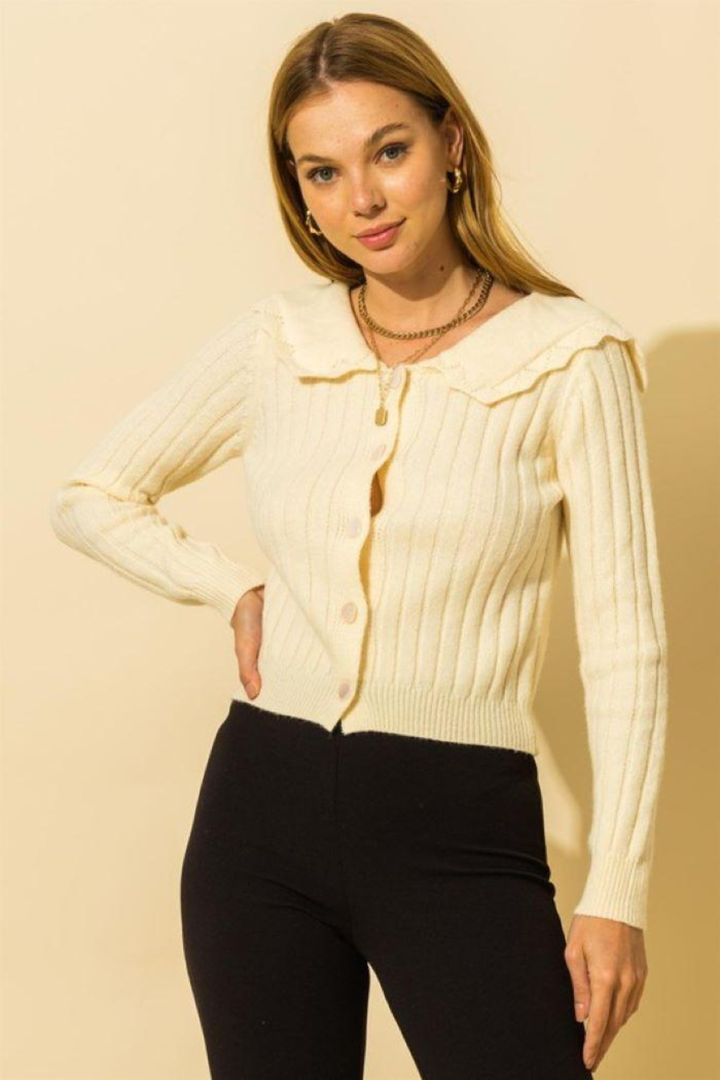 HYFVE Ribbed Collared Button Down Cardigan - Main Image