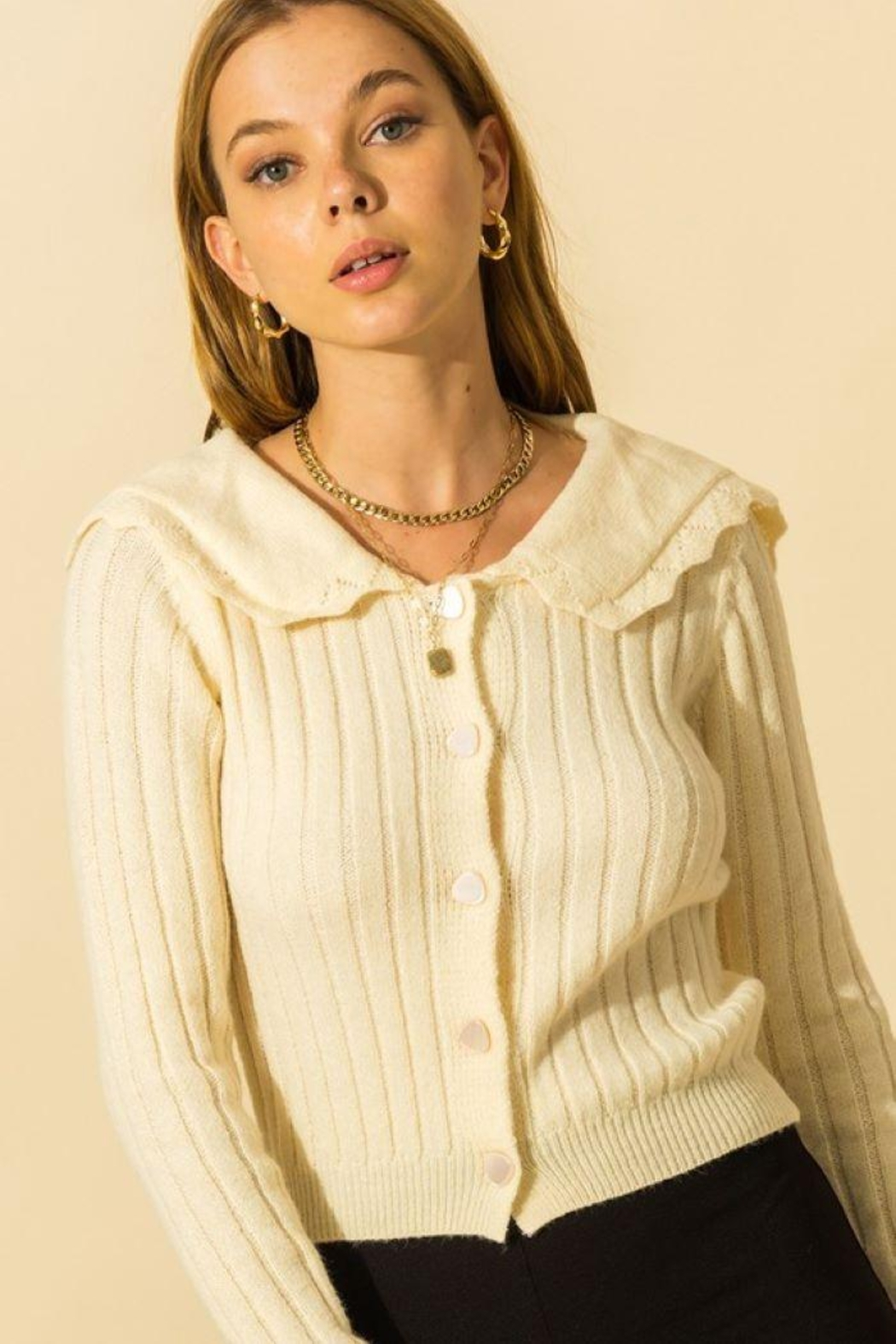 HYFVE Ribbed Collared Button Down Cardigan - Side Cropped Image