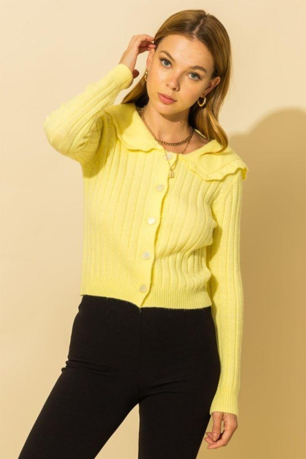 HYFVE Ribbed Collared Button Down Cardigan - Front Cropped Image
