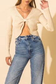 HYFVE Ribbed Knot Crop Sweater - Front full body