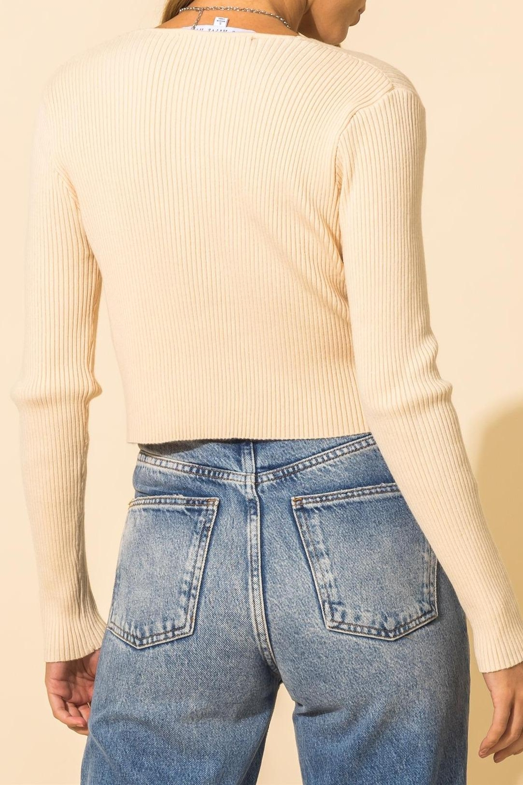 HYFVE Ribbed Knot Crop Sweater - Back Cropped Image