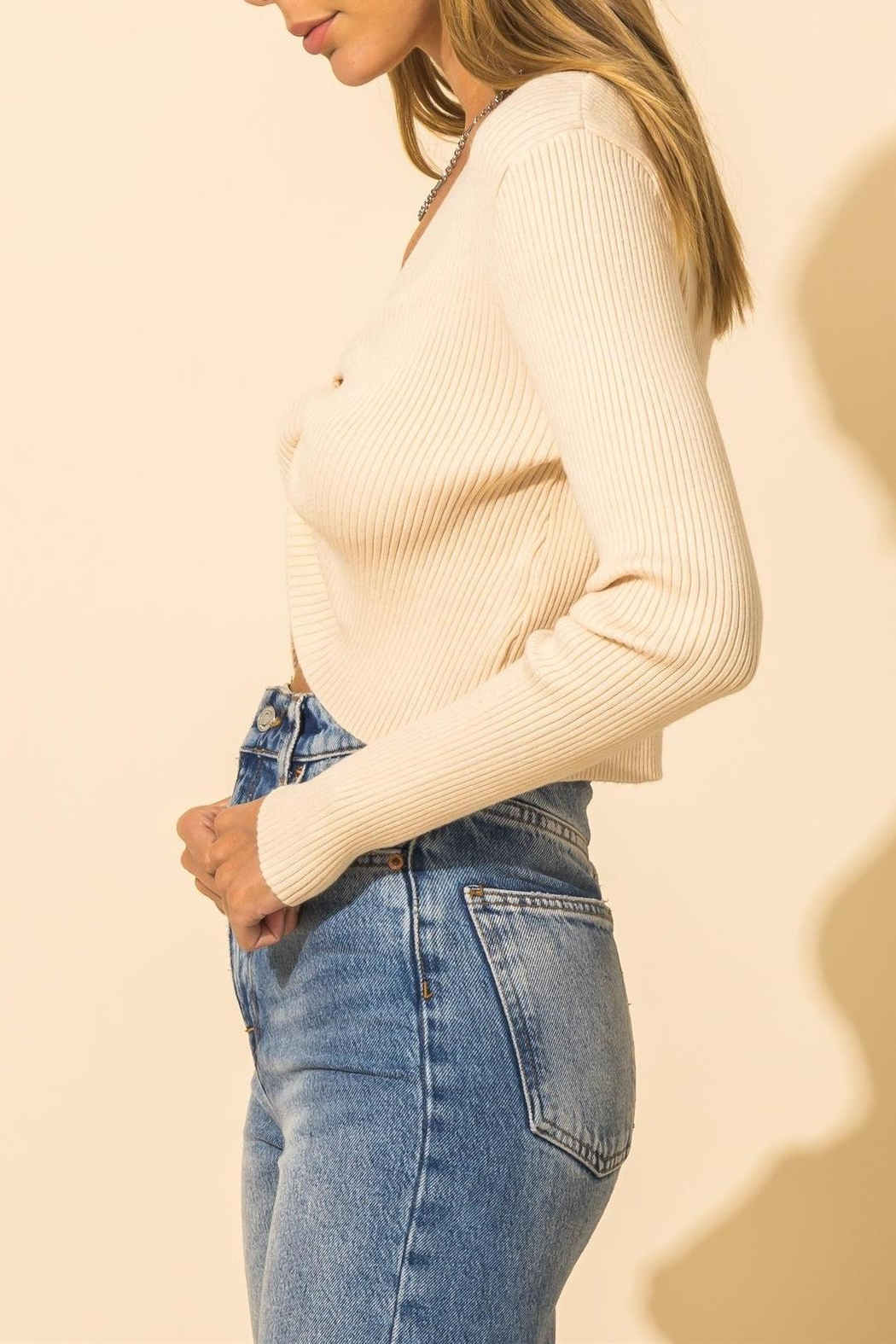 HYFVE Ribbed Knot Crop Sweater - Side Cropped Image