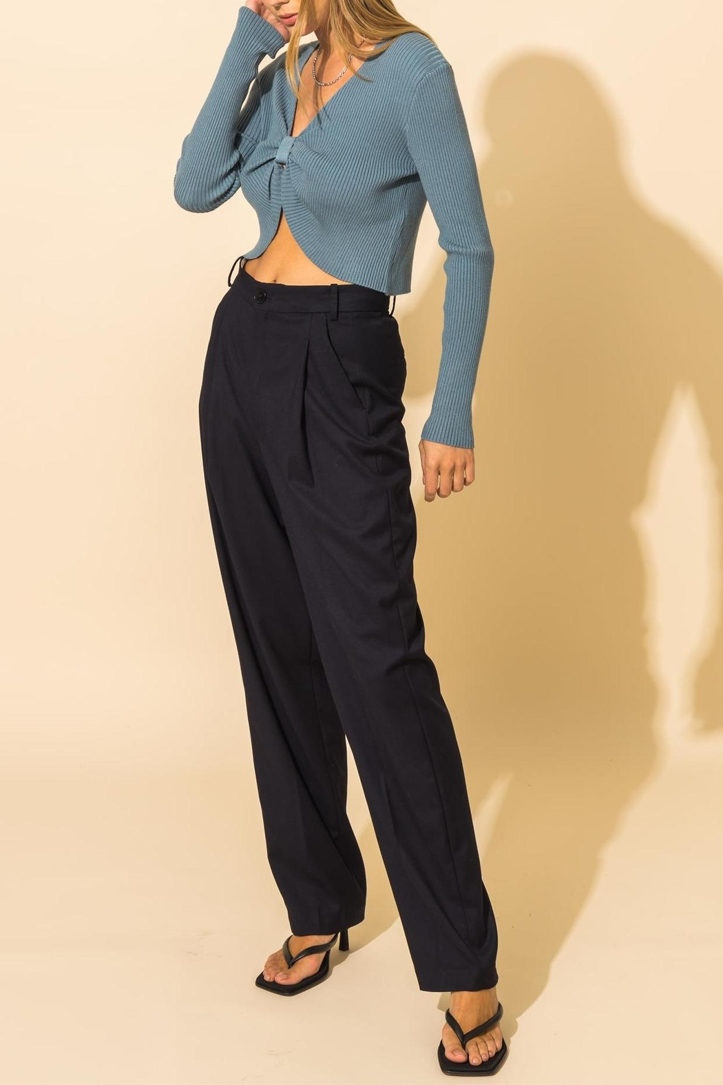 HYFVE Ribbed Knot Crop Sweater - Front Full Image