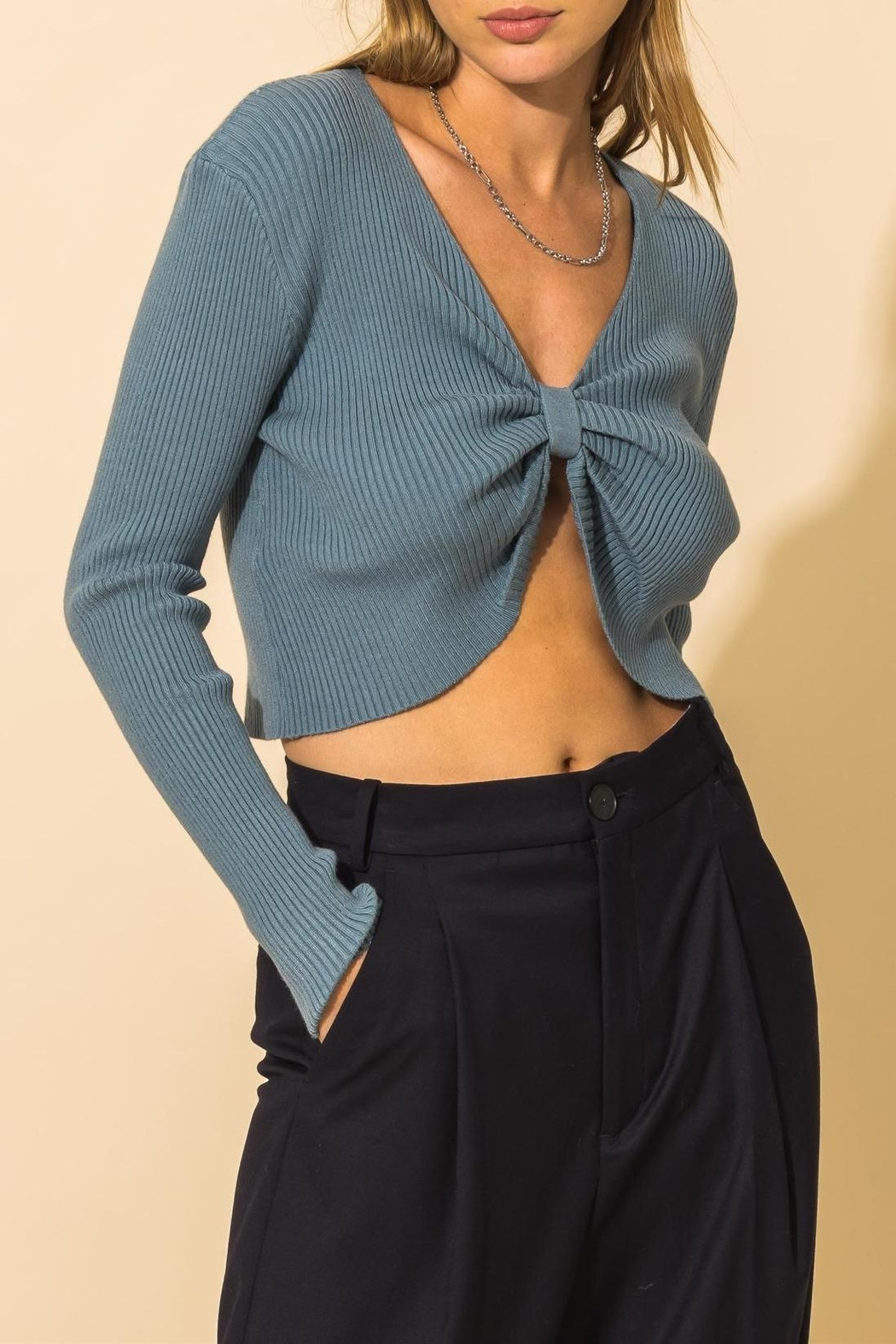 HYFVE Ribbed Knot Crop Sweater - Front Cropped Image