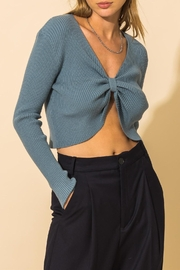 HYFVE Ribbed Knot Crop Sweater - Front cropped