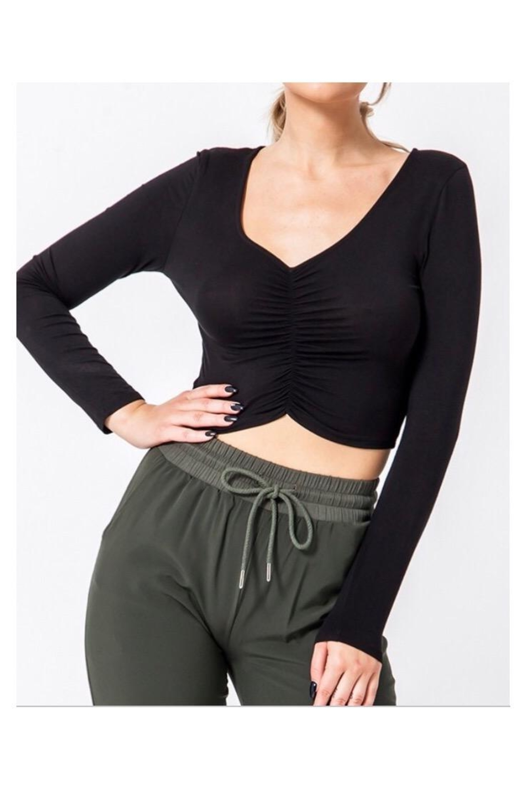 HYFVE Ruched Front Top - Front Cropped Image