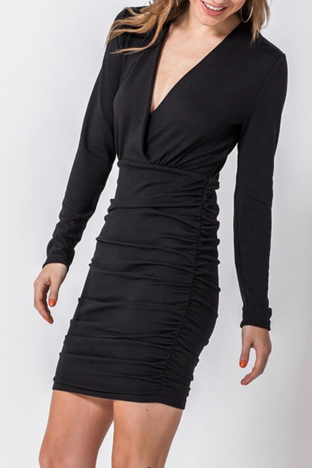 HYFVE Ruched Surplice Dress - Front Full Image