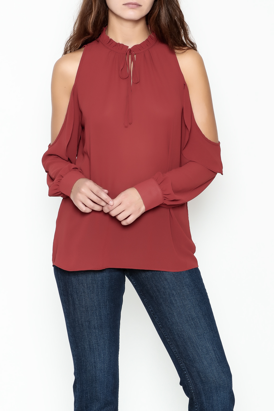 HYFVE Ruffle Neck Blouse - Front Cropped Image