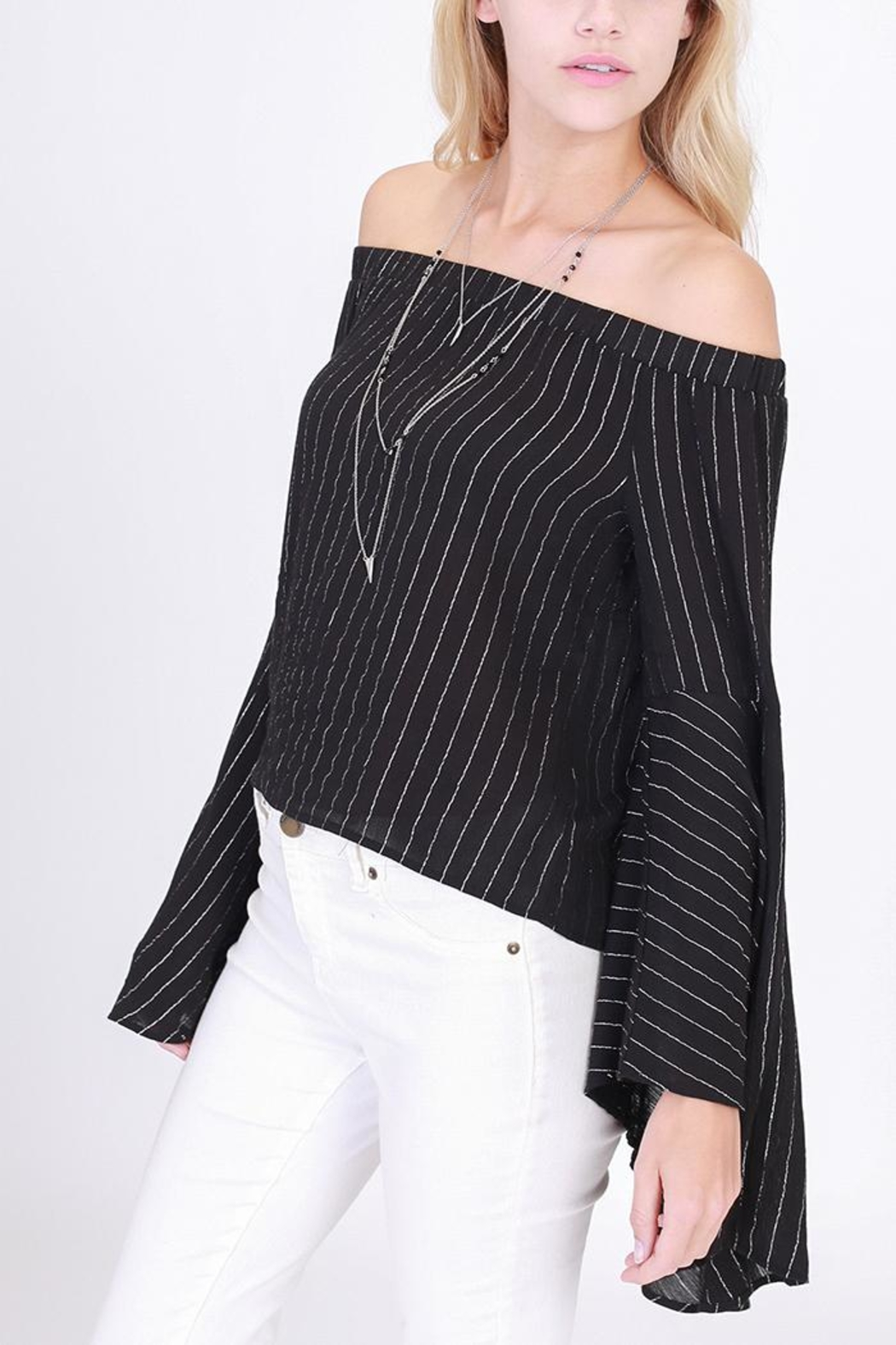 HYFVE Shimmery Off-Shoulder Top - Side Cropped Image