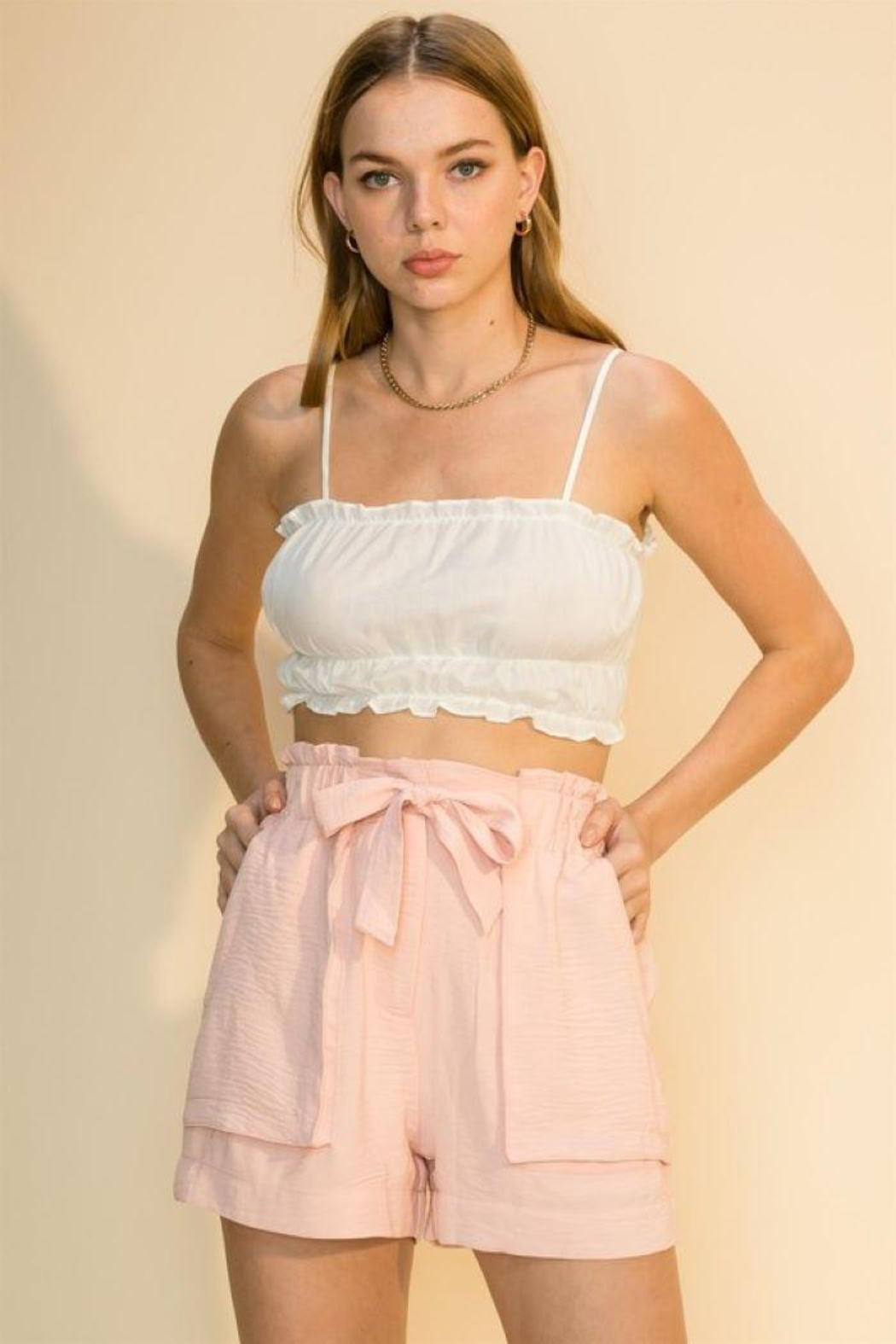 HYFVE Shirred Crop Cami Top - Front Cropped Image