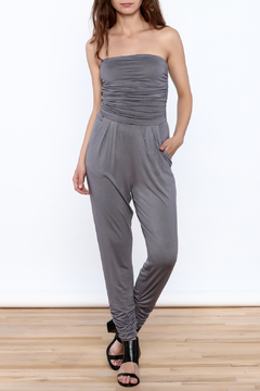 Shoptiques Product: Grey Strapless Jumpsuit