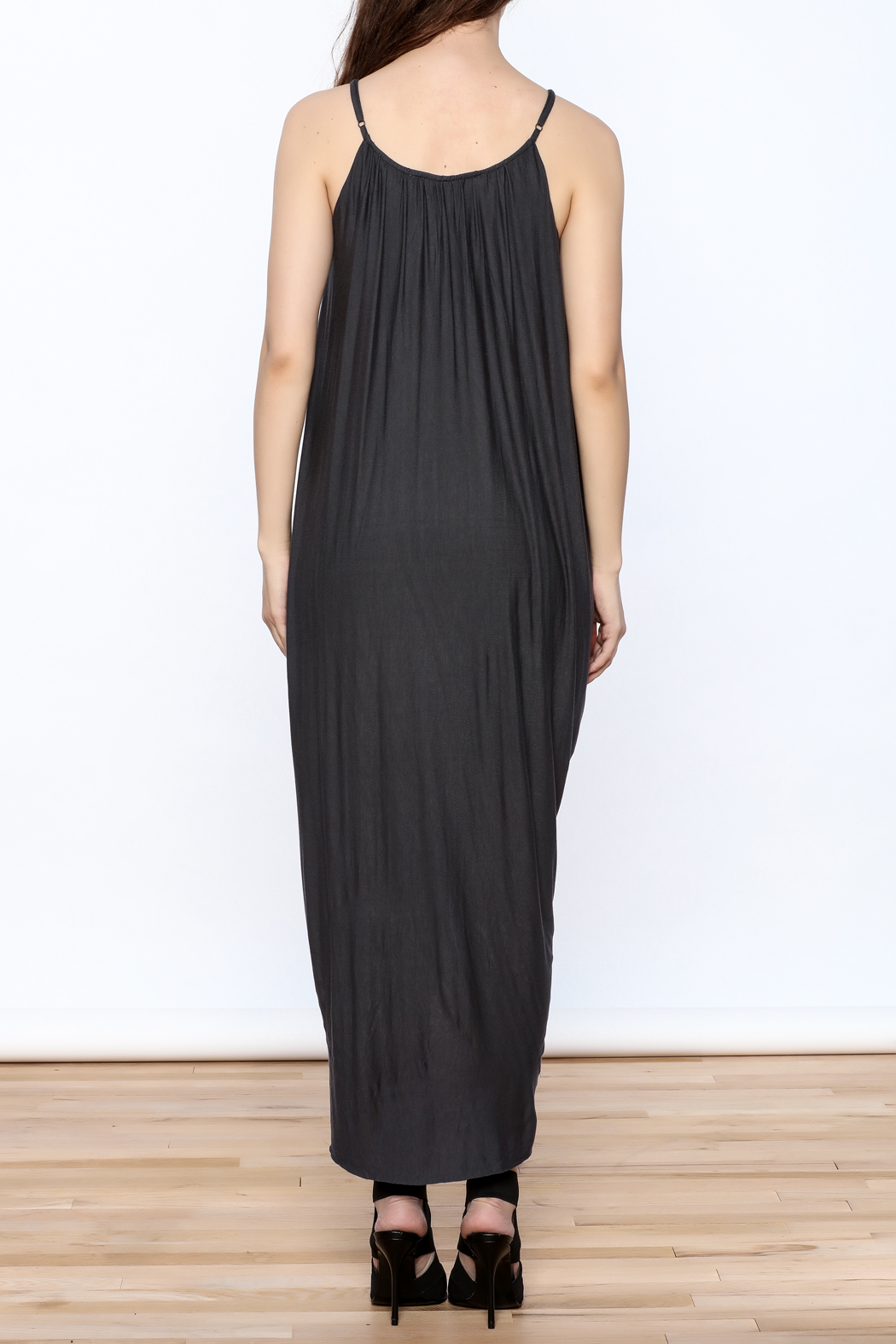 HYFVE Charcoal Drapey Sleeveless Dress - Back Cropped Image